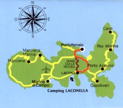 Elba Karte.Die Lage Campingplatz Laconella In Lacona Insel Elba